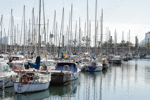 Foto op Aluminium Barcelona Yachts are in harbor, Bacelona bay, Spain, editorial use