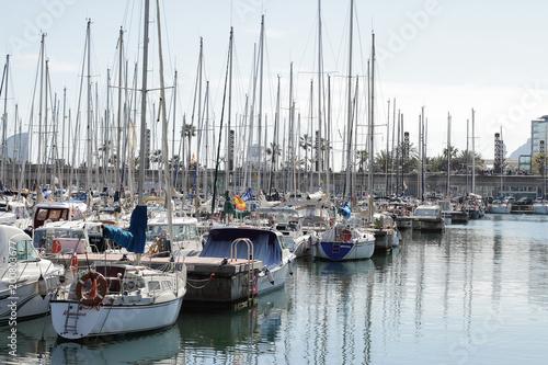 Aluminium Barcelona Yachts are in harbor, Bacelona bay, Spain, editorial use