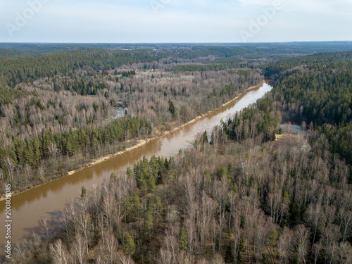 Foto op Aluminium Cappuccino drone image. aerial view of forest river in spring. Gauja, Latvia
