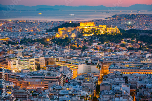 Keuken foto achterwand Athene Panoramic aerial view of Athens, Greece at summer sunset