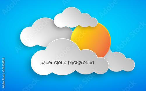 Paper art of clouds and sun. Vector illustration.