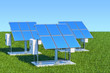 Renewable energy concept. Solar panels in the green grass against blue sky, 3d rendering