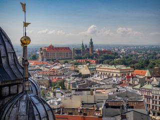 Aerial view of old city center in Krakow