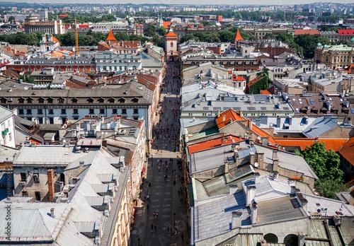 Foto op Plexiglas Krakau Aerial view of old city center in Krakow
