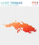 Saint Thomas polygonal map, mosaic style island. Indelible low poly style, modern design. Saint Thomas polygonal map for infographics or presentation. - 200811066