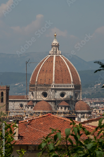 View of the Duomo in Florence through the trees - 200811618