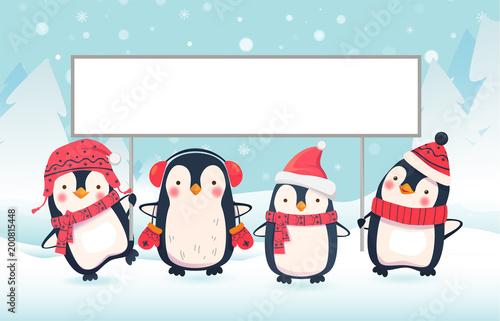 dwa pingwiny trzymając transparent
