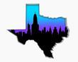 Texas TX Skyline City Metropolitan Area Nightlife 3d Illustration
