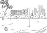 Beach volleyball sport graphic black white city landscape sketch illustration vector - 200836836
