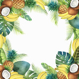 Watercolor vector tropical card of fruits and palm trees isolated on white background. - 200841467