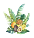 Watercolor vector organic bouquet of fruits and palm trees isolated on white background. - 200841477
