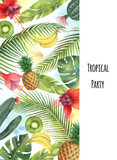 Watercolor vector vertical banner tropical leaves,fruits and cacti isolated on white background. - 200841612