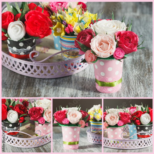 Bouquet from colored paper flowers and decorations