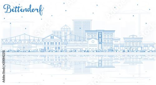 Zarys Bettendorf Iowa Skyline z Blue budynków i refleksji.