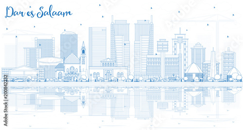 Outline Dar Es Salaam Tanzania City Skyline with Blue Buildings and Reflections.