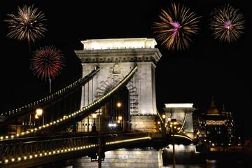 Szechenyi Chain bridge with fireworks, Budapest.