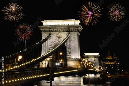 Fotobehang Boedapest Szechenyi Chain bridge with fireworks, Budapest.