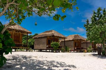 Beautiful tropical beach of Koh Rong Samloem island with stylish bungalows.  Koh Rong Samloem.  Cambodia, Asia.