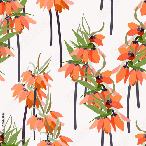 Kwiatowy wektor wzór z ręcznie rysowane lilii i liści - kwiaty korony Kaisera.