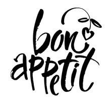Bon Appetit Card Hand Drawn Lettering  Ink Illustration Modern Brush Calligraphy    Sticker