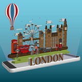 isometric London city on mobile . London infographic tourist sights of Great Britain,Travel to London 3d isometric.
