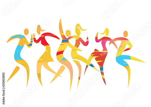 Dancing couples disco party.  Expressive colorful illustration of three disco dancing couples. Vector available. - 200858893
