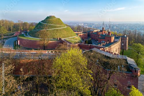 Kosciuszko Mound (Kopiec Kosciuszki). Krakow landmark, Poland. Erected in 1823 to commemorate Tadedeusz Kosciuszko. Surrounded by a citadel built by Austrian Administration about 1850. Aerial view