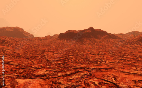 Foto Spatwand Rood traf. 3D Rendering Planet Mars Lanscape