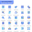 Simple Set Seo and Development Flat Icons for Website and Mobile Apps. Contains such Icons as Clean Code, Data Protection, Monitoring. 48x48 Pixel Perfect. Editable Stroke. Vector illustration.