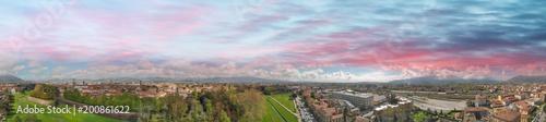 Fototapeta Lucca at sunset, Tuscany. Panoramic aerial view in Spring