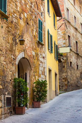 Fotobehang Toscane street of a small old town in Tuscany. Italy