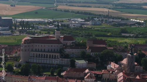 Czech Republic, Moravia, castle, green, roof, city, summer, travel, monument, town, drone view