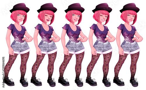 Foto op Plexiglas Kinderkamer Girl with different expressions