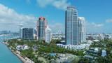 South Pointe Park in Miami Beach. Buildings along the beach, aerial view
