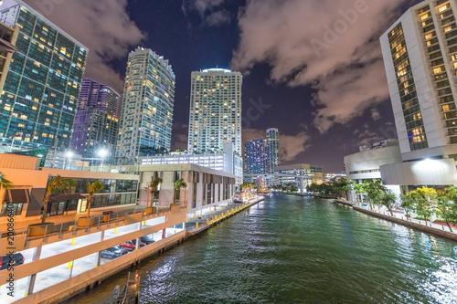 Night view of Brickell Key buildings, Miami