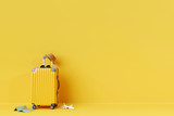 Yellow suitcase with sun glasses and hat on yellow background. 3D rendering. travel concept. minimal style