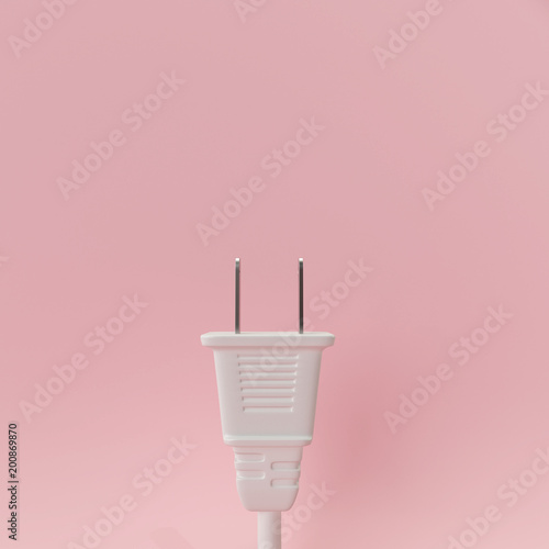 White plug on pastel pink background. 3d rendering © aanbetta