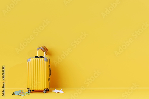 Yellow suitcase with sun glasses and hat on yellow background. 3D rendering. travel concept. minimal style © aanbetta