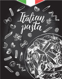 Penne pasta with cherry tomatoes and basil. Dish of Italian cuisine. Ink hand drawn background with brush calligraphy style lettering. Vector illustration. Top view. Food elements, chalkboard style. - 200878287