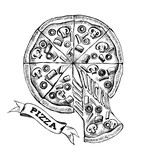 Sliced pizza with melted cheese. Italian cuisine. Ink hand drawn Vector illustration. Top view. Food element for menu design. - 200879008