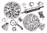 Pizza with pepperoni, olives and champignons, round knife, rolling pin, parmesan, vegetables. Set of Italian cuisine. Ink hand drawn Vector illustration. Food elements for menu design. - 200879427