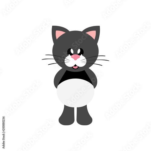 cartoon cute cat black - 200880236