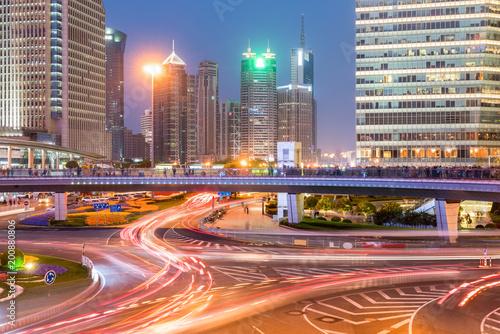 Foto Murales shanghai downtown in nightfall