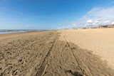 View on the beach and the North Sea at Katwijk aan Zee, South Holland, The Netherlands.