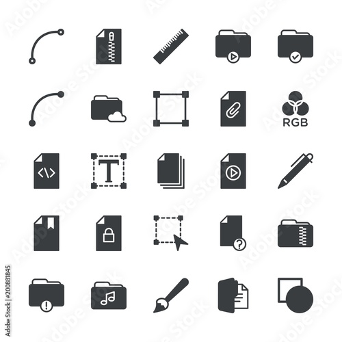 Modern Simple Set of folder, files, design Vector fill Icons. ..Contains such Icons as data,  smooth,  information, paint, hidden,  shape and more on white background. Fully Editable. Pixel Perfect. - 200881845