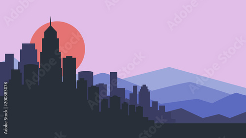 Foto op Plexiglas Purper City skyline vector illustration. Urban landscape. purple city silhouette. Cityscape in flat style. Modern city landscape. Cityscape backgrounds.