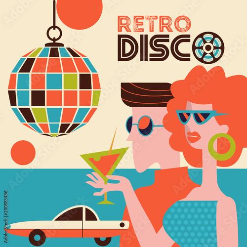 Retro disco party. Vector illustration. - 200883486