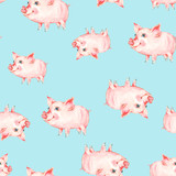Watercolor seamless pattern with cute piggy. - 200884253