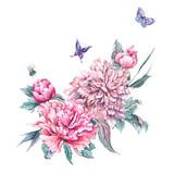 Watercolor pink flowers blooming peonies - 200885003