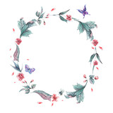 Watercolor floral spring round frame - 200885432